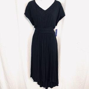 APT 9 Black High Low V-Neck Dolman Sleeve Dress  L